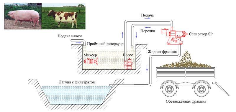 Пример схемы обезвоживание коровьего или свиного навоза